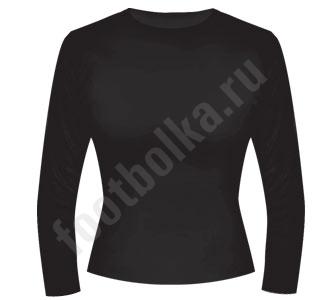 Футболка женская с длинным рукавом черная (стрейч) SALE