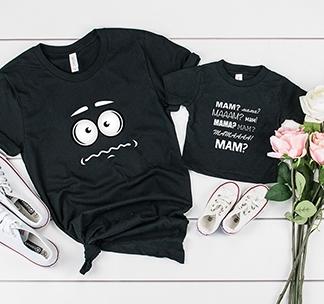 """Футболки для мамы и ребенка """"Crazy. Mam? Mama?"""" alex"""
