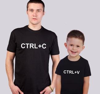 """Парные футболки для папы и сына """"CTRL"""""""