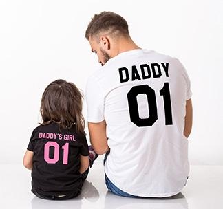 """Футболки для папы и дочки """"Daddy and Daddys girl"""""""