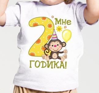 """Футболка """"Мне 2 годика"""" обезьянка"""