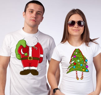 "Футболки для двоих ""Дед Мороз и елочка"""