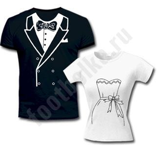 """Мужская футболка из комплекта """"Свадебные"""" с черным фраком SALE"""