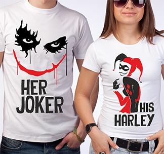 "Женская футболка из комплекта ""Her Joker, His Harley"" SALE"