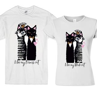 """Футболки для двоих """"I love my Princess cat, Black cat"""""""