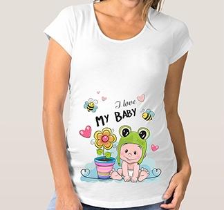 "Футболка для беременных ""I love My Baby"" пчелки"