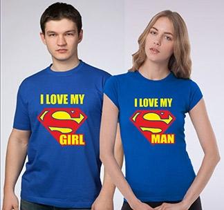 "Парные футболки ""I love my Superman / Supergirl"""