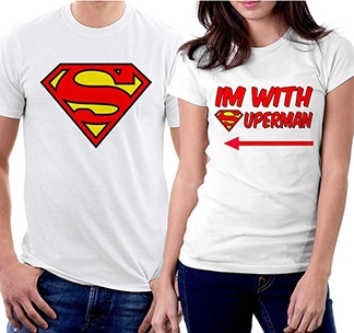 "Парные футболки ""Superman / I am with Superman"""