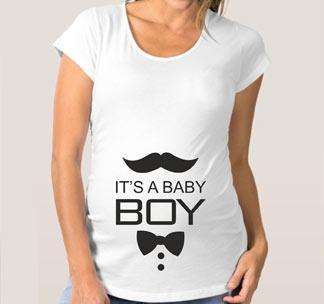 "Футболка для беременных ""Its a Baby Boy"" усы"