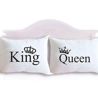"""Парные наволочки """"King, Queen"""" короны"""
