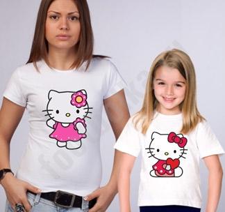 """Футболки для мамы и дочки """"Kitty"""""""