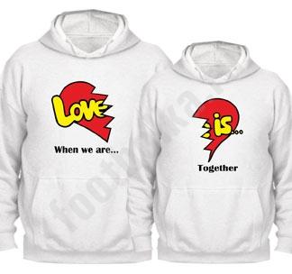 "Толстовки парные ""Love is"" половинки сердца"