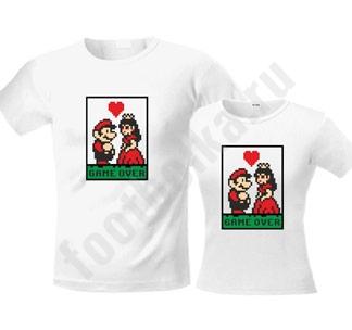 """Свадебные футболки """"Game over"""" Марио"""
