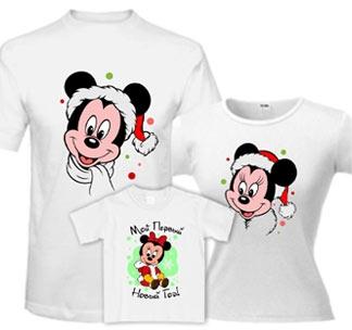 """Новогодние семейные футболки """"Микки Маус"""""""