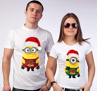 """Парные футболки """"Миньоны"""" новогодние"""