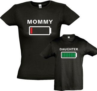 """Футболки для мамы и дочки """"Батарейка"""""""