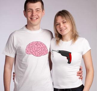 """Парные футболки """"Дрель и мозг"""""""