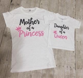 """Футболки пара """"Mother of a Princess, Daughter a Queen"""""""