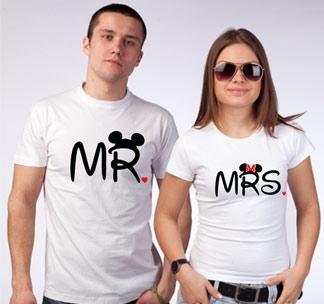 """Футболки для мужа и жены """"Mr и Mrs"""" микки"""