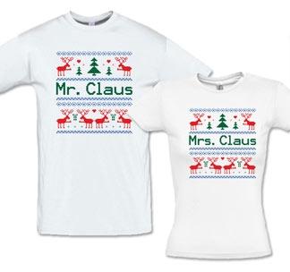 """Парные новогодние футболки """"Mr.Claus, Mrs.Claus"""""""