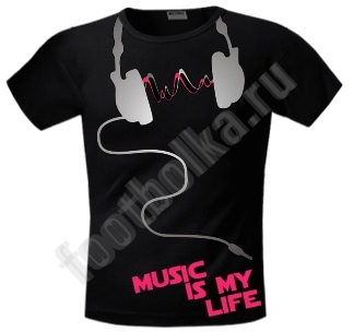 "Футболка FREEdom ""Music is my Life"" светится в УФ"
