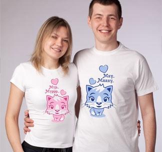 """Парные футболки для влюбленных """"Мурр, мяу"""""""