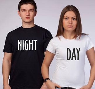 """Футболки для двоих влюбленных """"Night and Day"""""""