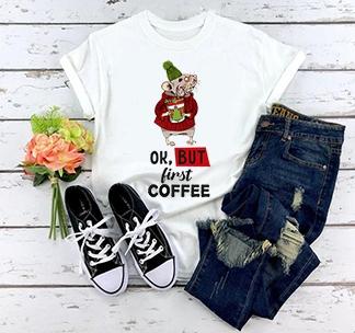 "Женская футболка ""Ok, but first coffee"""