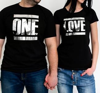 """Парные футболки с надписью """"One love"""" серебро"""