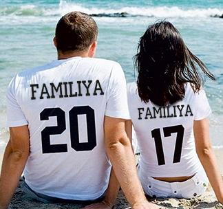 """Парные футболки с фамилией и номером """"белые"""""""