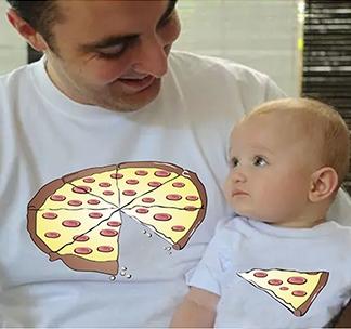 """Футболки для папы и ребенка """"Пицца"""""""