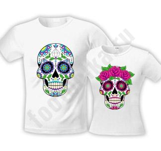 """Парные футболки halloween """"Sugar Skull"""""""