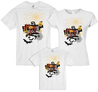 """Семейные футболки """"Happy Halloween"""" паутина"""