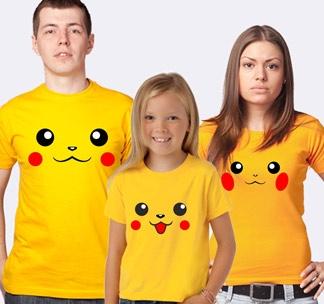 """Семейные футболки с покемонами """"Пикачу"""""""