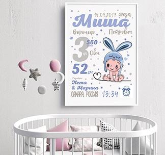 """Постер """"Метрика"""" для мальчика"""