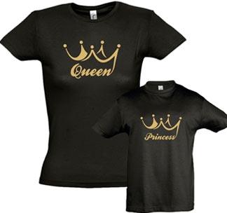 """Футболки для мамы и дочки """"Queen, Princess"""" золотая корона"""