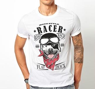 """Футболка """"Racer moto style"""" с собакой"""