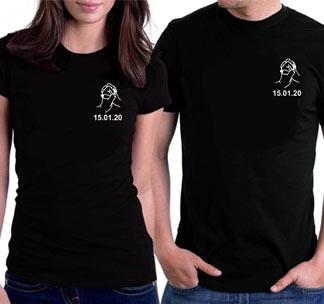 """Парные футболки для двоих влюбленных """"Руки"""" ваша дата"""