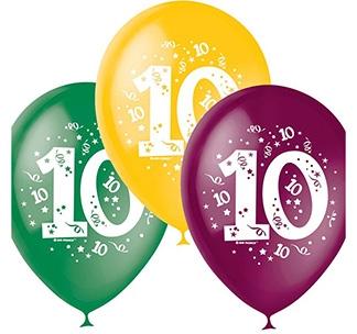 "Набор разноцветных шаров 10 шт ""Цифра 10"""