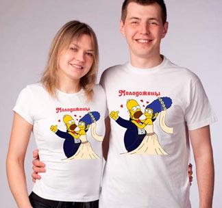 """Парные футболки """"Молодожены"""" симпсоны"""