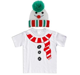 """Набор детский """"Снеговичок"""" футболка и шапка"""