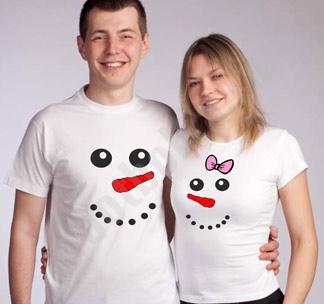"""Новогодние футболки для двоих """"Снеговики"""""""
