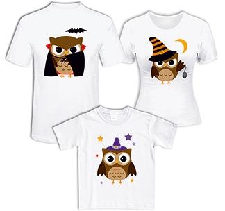 """Семейные футболки """"Совы"""" halloween"""