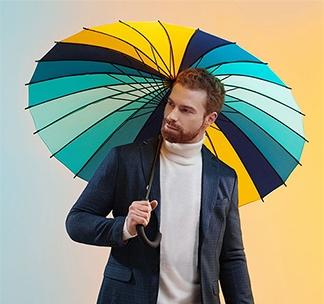 """Зонт трость """"Спектр бирюза и желтый"""" арт 5380.48"""