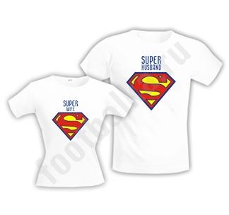 "Мужская футболка ""Супер муж /супер жена"" SALE"