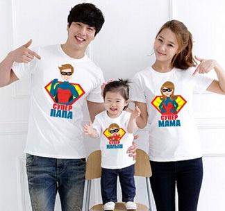 """Футболки для семьи """"Супер-семейка с малышом"""" супермен"""