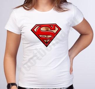 "Футболка женская ""Супермен"" на груди"