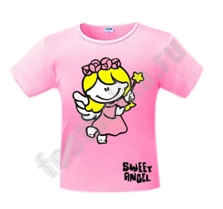 """Футболка детская """"Sweet angel (girl)"""" розовая"""