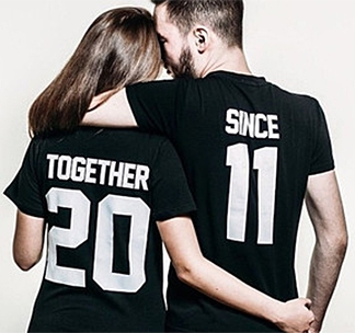 """Парные футболки """"Together since"""" (укажите год)"""