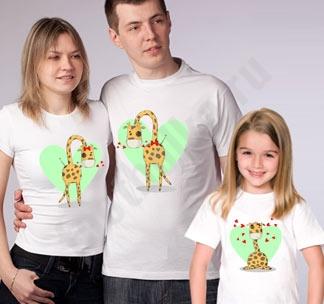 """Футболки для семьи на троих """"Жирафики 2"""""""